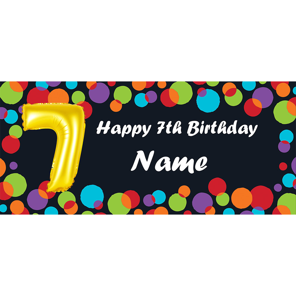 Click for larger picture of BALLOON 7TH BIRTHDAY CUSTOMIZED BANNER PARTY SUPPLIES