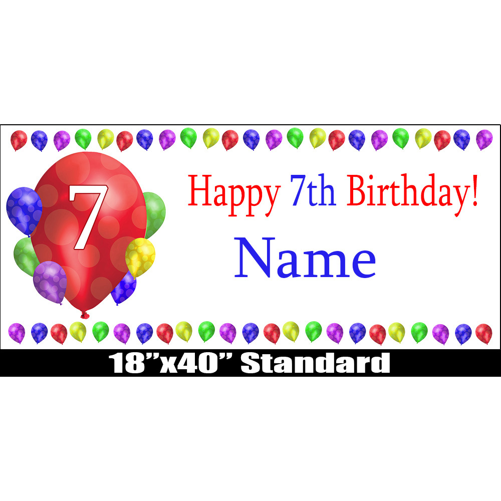 Click for larger picture of 7TH BIRTHDAY BALLOON BLAST NAME BANNER PARTY SUPPLIES
