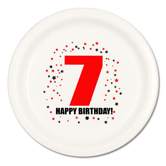 Click for larger picture of 7TH BIRTHDAY DINNER PLATE 8-PKG PARTY SUPPLIES