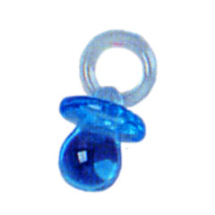 Click for larger picture of TRANSPARENT BLUE PACIFIER (12CT.) PARTY SUPPLIES