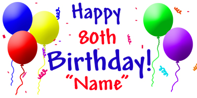 Click For Larger Picture Of PERSONALIZED 80TH BIRTHDAY BANNER PARTY SUPPLIES