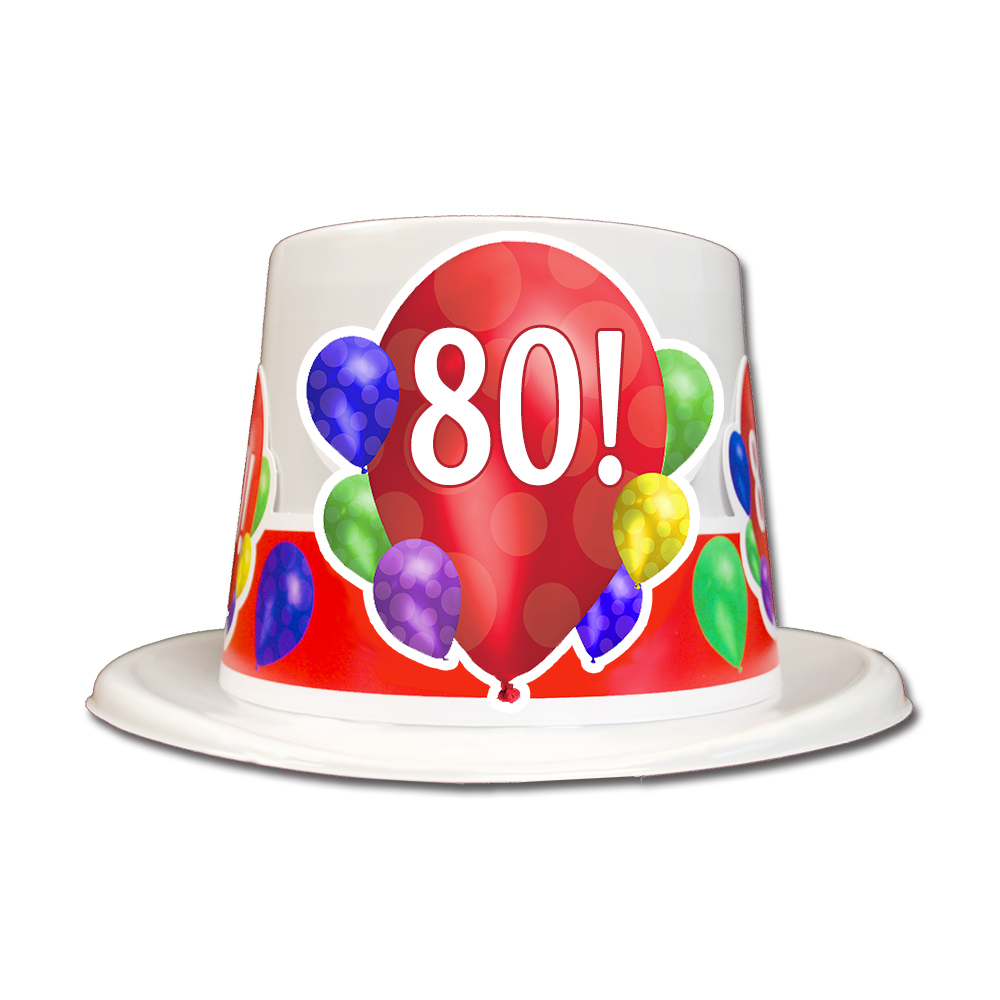Click For Larger Picture Of 80TH BIRTHDAY BALLOON BLAST TOP HAT PARTY SUPPLIES