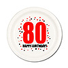 80TH BIRTHDAY DESSERT PLATE 8-PKG PARTY SUPPLIES