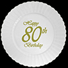 80TH CLASSY GOLD B-DAY PLASTIC DINNER PL PARTY SUPPLIES
