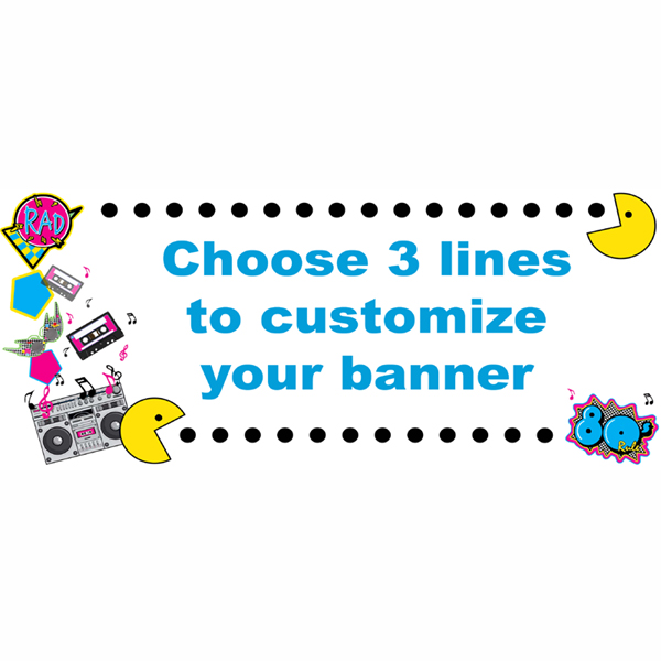 Click for larger picture of PERSONALIZED 80'S GENERATION BANNER PARTY SUPPLIES