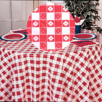 84IN. RED GINGHAM ROUND PLASTIC TBLCOVER PARTY SUPPLIES
