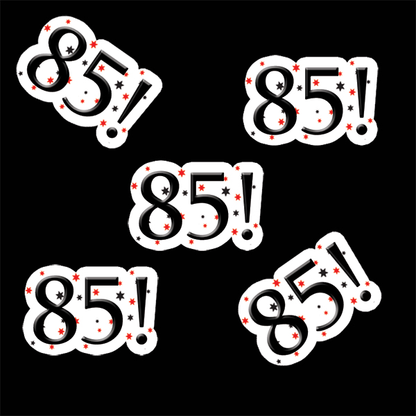 Click For Larger Picture Of 85 BIRTHDAY STICKER PARTY SUPPLIES