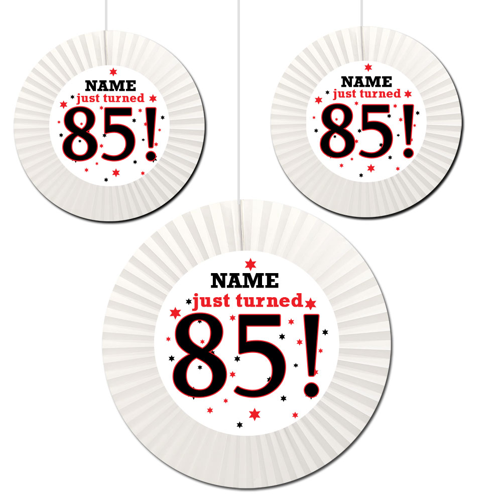 Click For Larger Picture Of 85TH BIRTHDAY CUSTOM FAN DECORATIONS PARTY SUPPLIES
