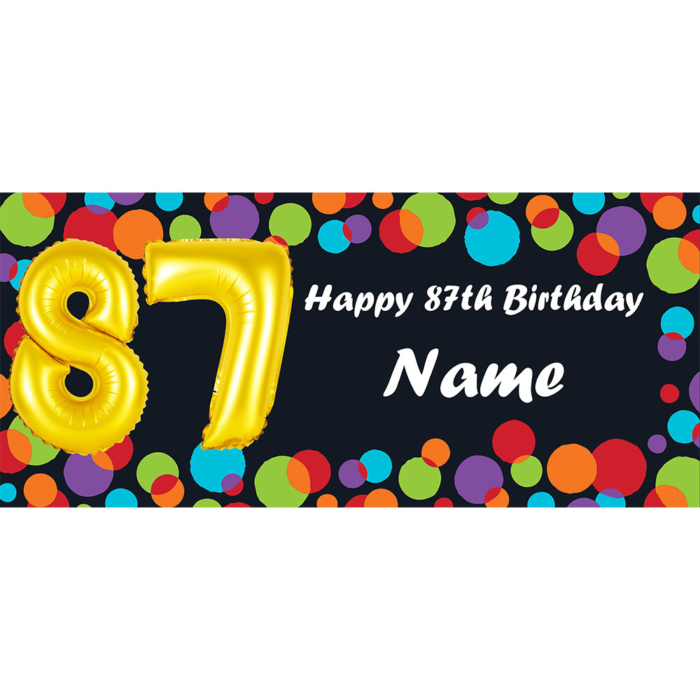Click for larger picture of BALLOON 87TH BIRTHDAY CUSTOMIZED BANNER PARTY SUPPLIES