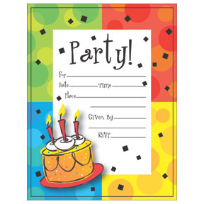 CAKE CELEBRATION INVITATION PSCD (48/CS) PARTY SUPPLIES