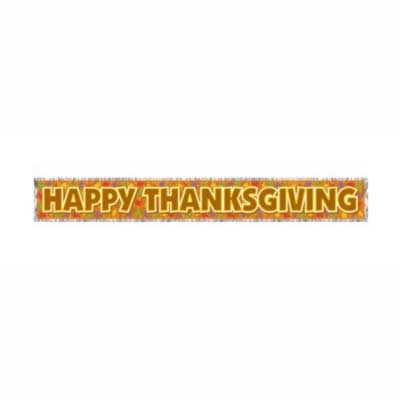 Happy Thanksgiving Metallic Banner 5' Each - Metallic ...