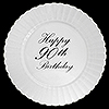 90TH CLASSY BLACK PLASTIC DINNER PLATE PARTY SUPPLIES