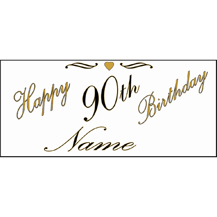 Click for larger picture of PERSONALIZED 90TH GOLD BANNER PARTY SUPPLIES