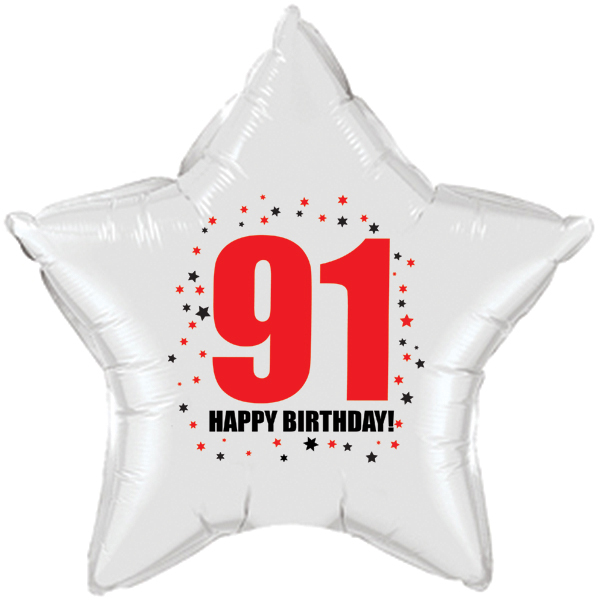 "91st Birthday Party Supplies Age 91 /""HAPPY BIRTHDAY/"" STAR BALLOON"