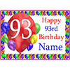 93RD BALLOON BLAST CUSTOMIZED PLACEMAT PARTY SUPPLIES