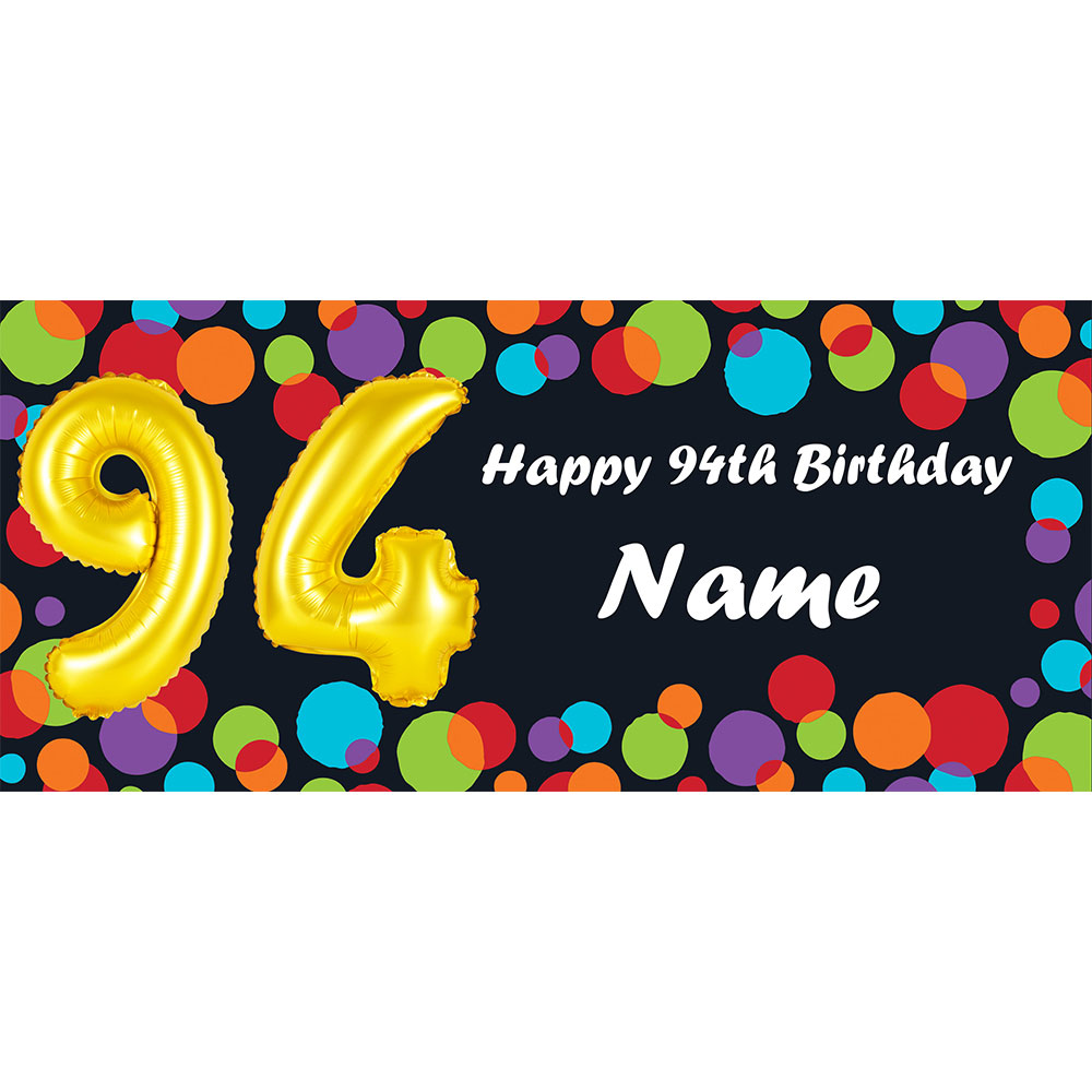Click For Larger Picture Of BALLOON 94TH BIRTHDAY CUSTOMIZED BANNER PARTY SUPPLIES
