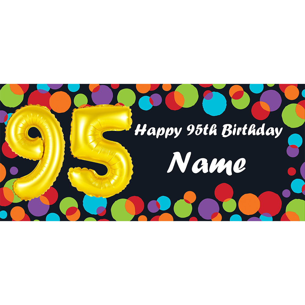Click For Larger Picture Of BALLOON 95TH BIRTHDAY CUSTOMIZED BANNER PARTY SUPPLIES