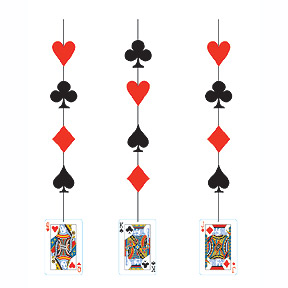 card night hanging cutout party supplies - Casino Party Decorations
