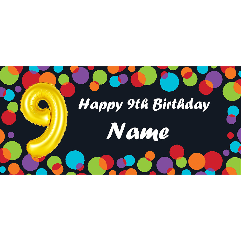 Click For Larger Picture Of BALLOON 9TH BIRTHDAY CUSTOMIZED BANNER PARTY SUPPLIES