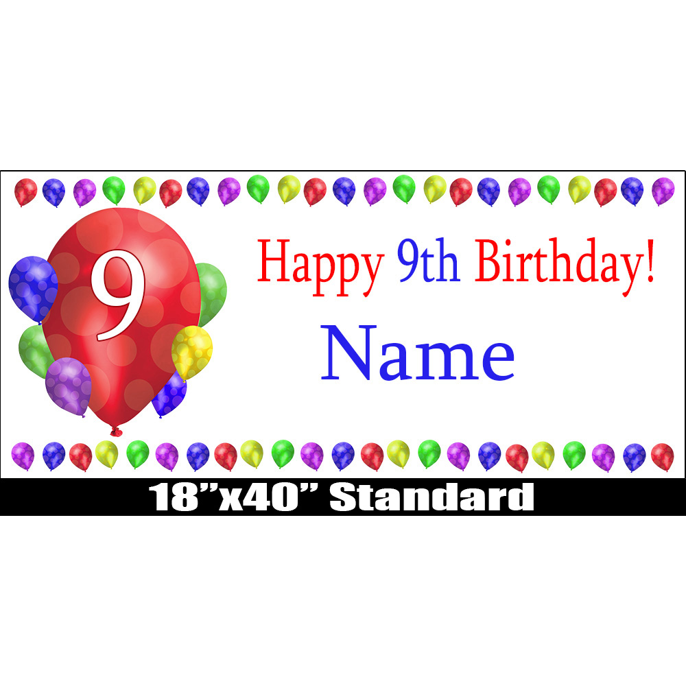 Click For Larger Picture Of 9TH BIRTHDAY BALLOON BLAST NAME BANNER PARTY SUPPLIES