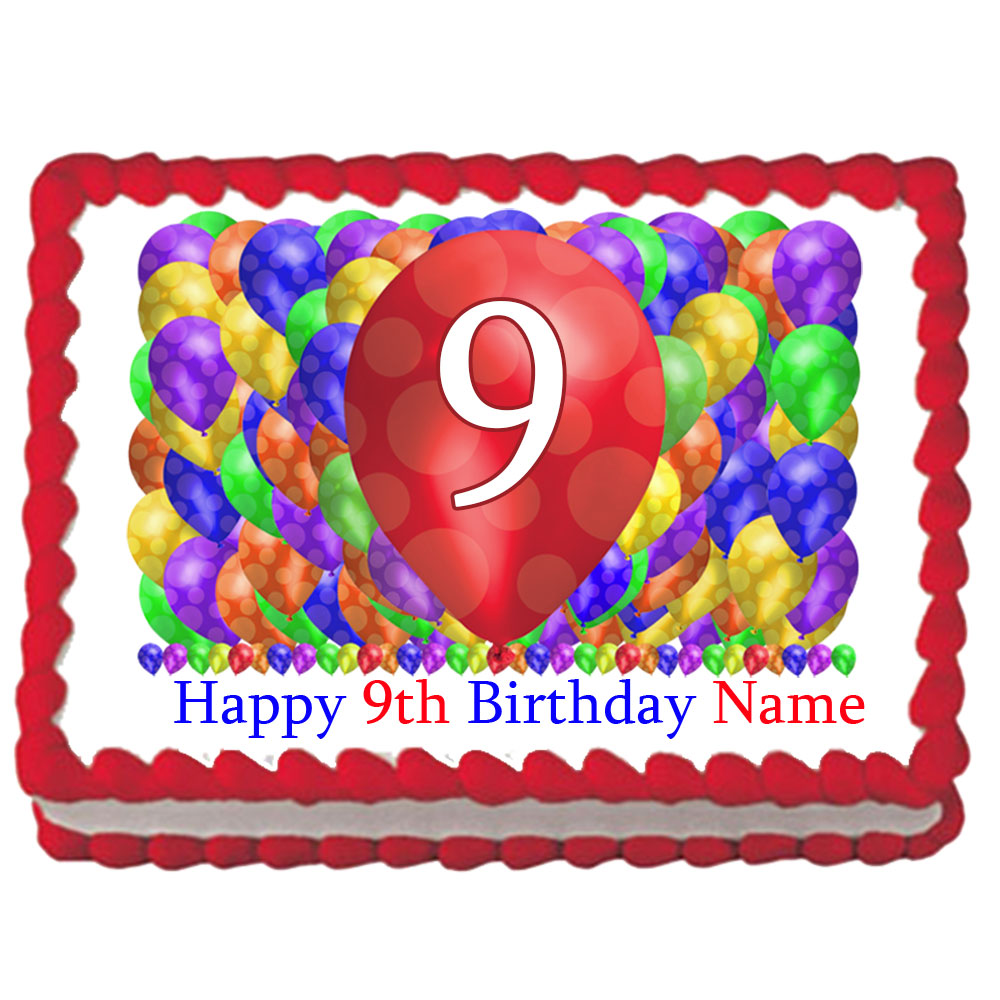 Click For Larger Picture Of 9TH BIRTHDAY BALLOON BLAST EDIBLE IMAGE PARTY SUPPLIES
