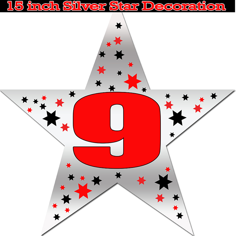 Click for larger picture of 9TH SILVER STAR DECORATION PARTY SUPPLIES