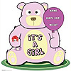 IT'S A GIRL TEDDY BEAR LIFESIZE STANDUP PARTY SUPPLIES