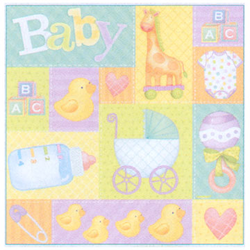Click for larger picture of PASTEL PATCHWORK GIFT WRAP ROLL PARTY SUPPLIES