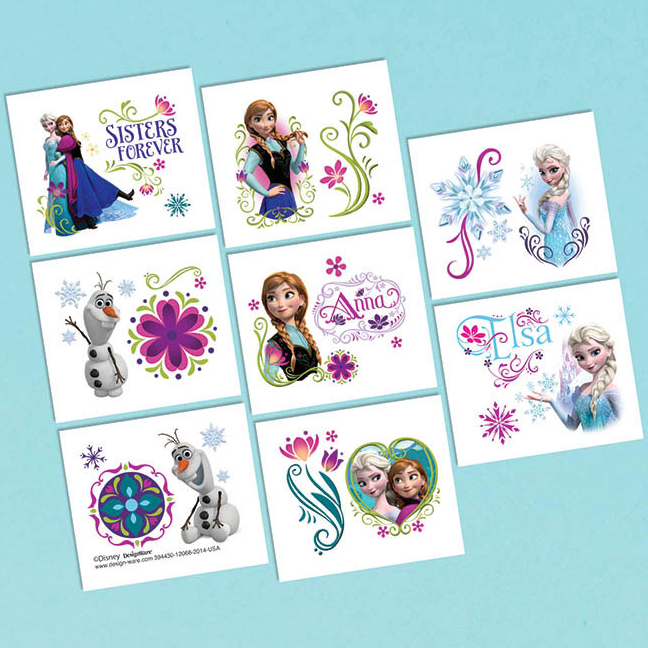 FROZEN TATTOO FAVORS 16/PKG (96/CS) PARTY SUPPLIES