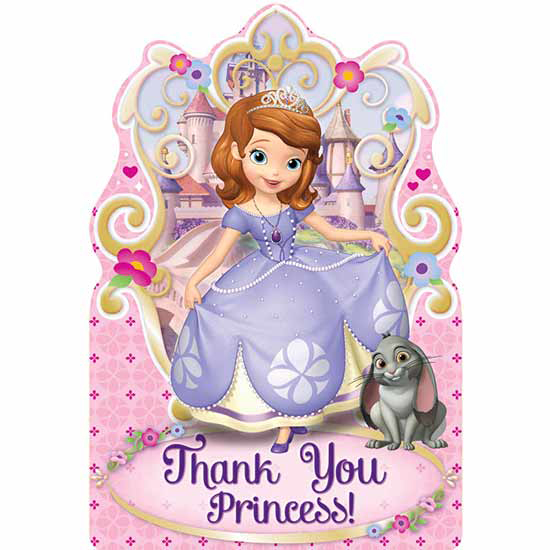 Click for larger picture of SOFIA THE FIRST POSTCARD THANK YOU NOTES PARTY SUPPLIES