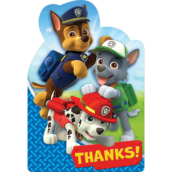 PAW PATROL THANK YOU NOTE PARTY SUPPLIES