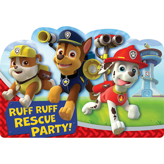 PAW PATROL INVITATIONS PARTY SUPPLIES