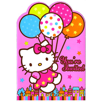 Click for larger picture of HELLO KITTY BALLOONS INVITATION PARTY SUPPLIES