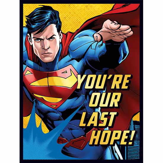 DISCONTINUED SUPERMAN INVITE-THANK YOU PARTY SUPPLIES