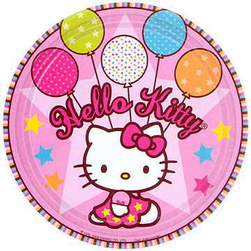 Click for larger picture of HELLO KITTY BALLOONS DINNER PLATE PARTY SUPPLIES
