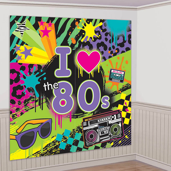 1980s theme party supplies totally 80s wall decorating kit for Decoration 80 s
