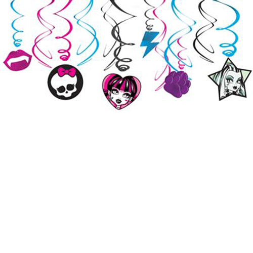 MONSTER HIGH SWIRL DECORATIONS (72/CS) PARTY SUPPLIES