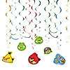 ANGRY BIRDS HANGING SWIRL DECORATION PARTY SUPPLIES
