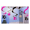 SWEET 16 HANGING SWIRL DECORATION PARTY SUPPLIES