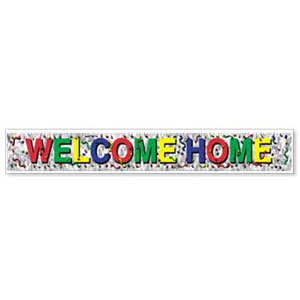 METALLIC WELCOME HOME BANNER (12/CASE) PARTY SUPPLIES