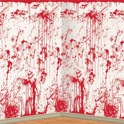 click for larger picture of bloody wall backdrop 6cs party supplies
