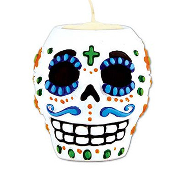 Click for larger picture of DAY OF THE DEAD MALE TEA LT HLDER (6/CS) PARTY SUPPLIES
