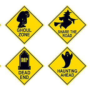 click for larger picture of halloween road sign cutouts48cs party supplies