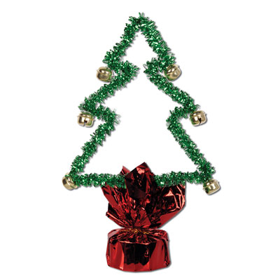 Click for larger picture of CHRISTMAS TREE W/BELLS CENTERPCE (12/CS) PARTY SUPPLIES