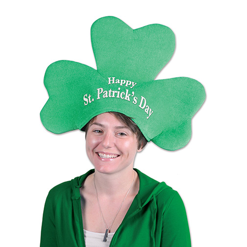 PLUSH ST PATRICK FEETS DAY SHAMROCK HAT PARTY SUPPLIES