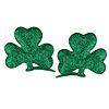 GLITTERED SHAMROCK HAIR CLIPS (24/CS) PARTY SUPPLIES
