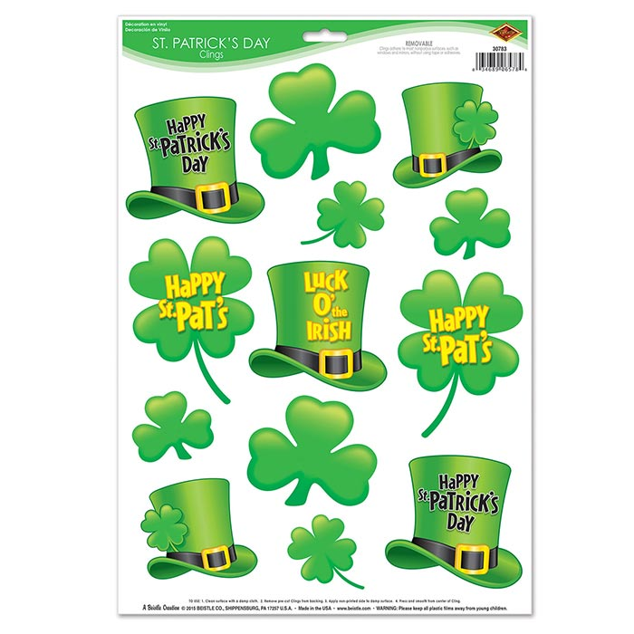 Click for larger picture of ST PATRICKS DAY CLINGS (12/CS) PARTY SUPPLIES