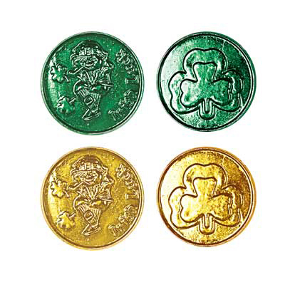 Click for larger picture of LUCKY LEPRECHAUN PLASTIC COINS (480/CS) PARTY SUPPLIES