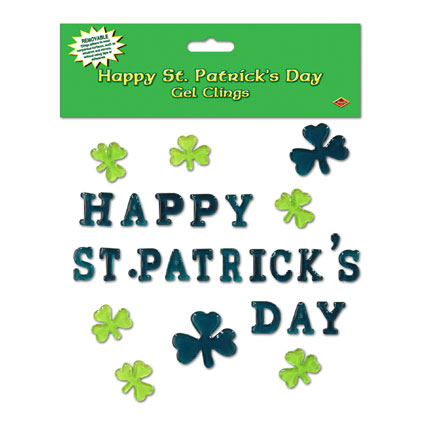 Click for larger picture of HAPPY ST PATRICK'S DAY GEL CLING (12/CS) PARTY SUPPLIES