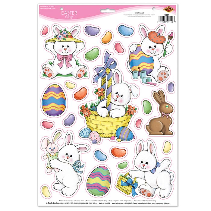 Click for larger picture of EASTER CLINGS (12/CS) PARTY SUPPLIES